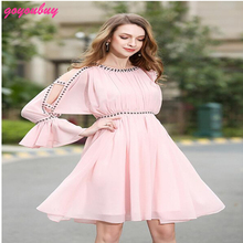 go you buy  European in the summer of 2017 heavy beading dress chiffon lace stitching dress 9373
