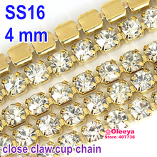 4.0mm SS16 Sew On Rhinestone Cup Chain 5 Yard Crystal With Close Matel Base Sewing Rhinestones Trimming For Women Dress Y2270