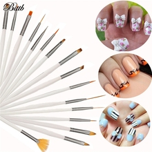 Bittb 15pcs/set Nail Art Brush Painting Pen Acrylic UV Gel Nail Brush Set Drawing Brushes Dotting Tool Nail Polish Design DIY(China)
