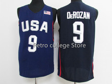 Retro College #4 Jimmy Butler #9 Demar DeRozan #11 Klay Thompson white bule Team usa Basketball Jersey Embroidery Stitched(China)