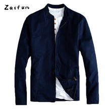 ZAITUN Brand Men Linen Jackets Summer Spring Thin Slim Stylish Stand Collar Casual Business Luxury Design Windbreaker Coats