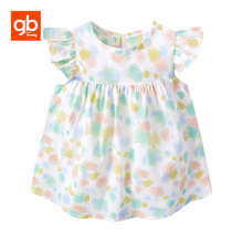 GB 2018 New Summer Baby Girl Dresses Fashion Print Pattern Short Sleeve Cotton Princess Toddler Children Brand Clothing 6M-5Y(China)