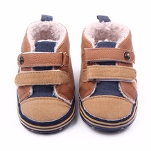 2017 New Autumn Winter Canvas Stitching PU Baby Shoes Baby First Walker Toddler Shoes(China)