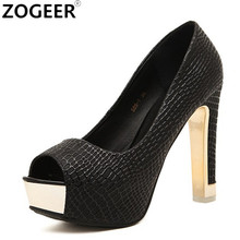 Brand Hot Design Women Pumps Sexy Peep Toe Thick High Heels Shallow Shoes Woman Good Quality Black White Party Dress Pumps