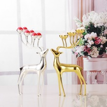 Luxurious Spotted Deer Stainless Steel Candlestick Candelabra Candle Holders For Wedding Home ornaments Gift(China)