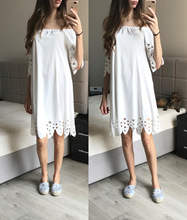 Women Casual Summer Dress Elegant Ladies Off the Shoulder Loose Midi Dress Hollow Out Shift Dress White/Blue Plus Size Vestidos