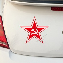 USSR Soviet Red Star Decal Sticker Air Force CCCP Hammer And Sickle Russian Car Trunk Vinyl Die cut  ,choose your size.