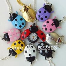 free shipping 10 Color fashion Cute Ladybug Quartz Pocket watch Necklace Brand New reloj de bolsillo(China)