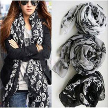 2015 New Fashion women Ladies Girls Cool Big Skull Head Skeleton Scarf Neck Wrap Shawl Stole Warm Winter Free Shipping(China)