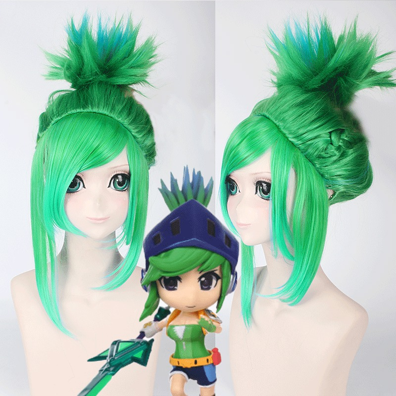 League of Legends LOL Riven 40cm Short Straight Cosplay Synthetic Wig for Anime Game Costume Party Christams Gift Green Blue<br><br>Aliexpress