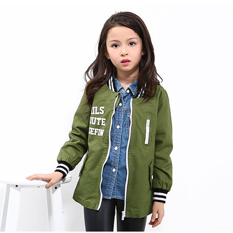 Spring Girls Jacket Kids Letter Baseball Long Sleeves Coat Autumn ArmyGreen Color Pilots Style Clothing for 6y-14y<br>