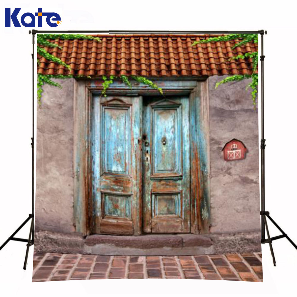 Kate Retro Background Brick Floor Old House  Rusty Iron Gate Backgrounds For Photo Studio For Children Backdrop<br>