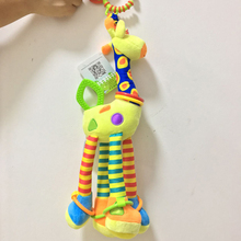 Baby Giraffe plush toys for Children kids boy girl with infant teethers bell ring toys bed bell baby Appease calm dolls LF133