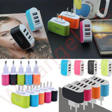 Buy Colorful led light 3 Usb ports Eu US Ac home wall charger travel adapter adapter android phone iphone 5 6 7 samsung for $860.00 in AliExpress store