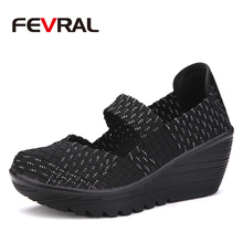 FEVRAL Hot Donna Casuale Scarpe tessuti A mano Creepers Slip On Mocassini scarpe Comode Scarpe Femminili Calzature Donna Flats Scarpe Donna(China)