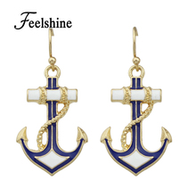 Summer Wind Dangle Anchor Earrings Blue White Enamel Drop Earrings Women Jewelry Fashion Brincos