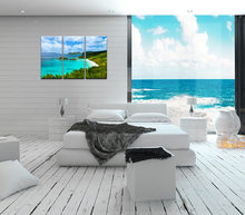 New Design Modern Art Green hills and blue waters a Painting on Canvas for Home Decoration (Unframed) 30x60cmx3