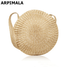 ARPIMALA 2017 Big Circle Straw Bag Luxury Women Beach Bags for Summer Large Designer Women Messenger Bag Vintage Travel Handbags