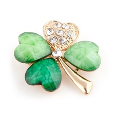Four Leaf Clover Crystal  Irish Shamrock Green Brooch Lapel Pins for Men or Women in Assorted