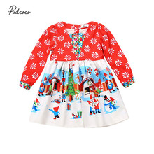 Toddler Baby Infant Girls Dress Clothes Kids Children Santa Snowman Christmas Xmas Long Sleeve Red Autumn Dresses Girl Clothing(China)