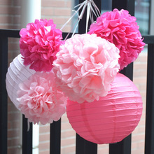 Pack of 6 Pink Fuchsia Paper Lanterns Tissue Pom Poms Flower Home Party Wedding Valentines Nursery Hanging Decor