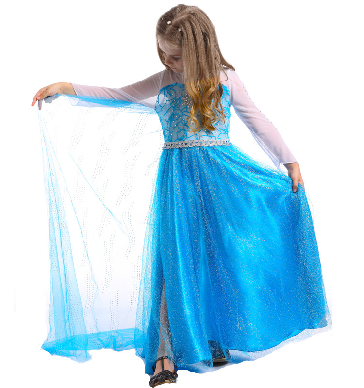 fashion halloween girls costume long sleeve maxi blue princess elsa dress cosplay for party<br><br>Aliexpress