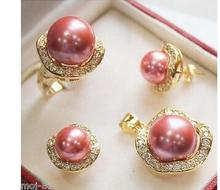 Wholesale fine Nobility 10mm &14mm Pink South Sea Shell Pearl Earrings Ring 6-9# Pendant Jewel Set Crystal Women Wedding(China)