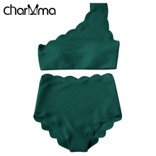 CHARMMA One Shoulder Scalloped Bikini Women Swimwear Wave Edge Biquini Maillot De Bain Beach Bathing Suit High Waist Bikini Set