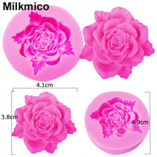 Milkmico M108 3D Rose Flower Silicone Mold Fondant Gift Decorating Chocolate Cookie Fimo Polymer Clay Resin Baking Molds(China)