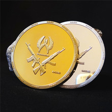 2 pcs  Internet war game CSGO counter strike global offensive 24k gold silver plated souvenir coin