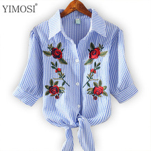 YIMOSI Women Blouse Embroidery Shirts 2017 Korean Short Sleeve Flower Embroidery Blouse Lady Summer Top Plus Size Female Clothes