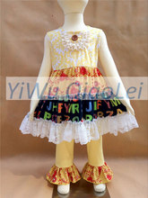 Discount cheap letter lace clothes sets boutique girl outfits small stock kids sets