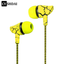 Wired Sport Earphone 3.5mm Super Bass Crack Earphone Earbud with Microphone Hands Free earphone for Samsung MP3 MP4(China)