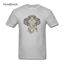 2017 Brand Clothing Male Anchor And Elephant Tshirt Male Cotton Printing Tees Tee Shirts Homme Fitness Camisetas Tee Shirt