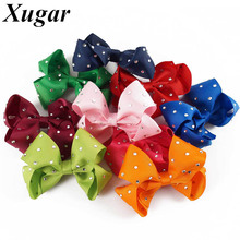 4'' Chic Ribbon With Rhinestone Hair Bows Dance Party Summer Style Lovely Girls Hair Accessories Hair Clip(China)