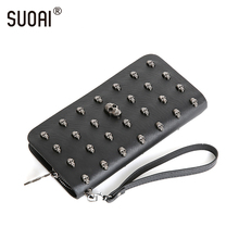 SUOAI Vintage Women Wallets Skull Long Purse Rock Style Girls Punk Wallet Female Personally Purse(China)