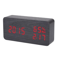 New black red Voice humidity wooden clock electronic clock LED alarm clock plug/battery/usb power supply ways
