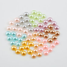 6mm 8mm 10mm Acrylic vintage style smooth half pearl Resin Round half pearls For jewelry Accessories, Nail Art ,9 colors(China)