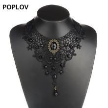 POPLOV Vintage Black&White Lace Choker Necklace Charm Ribbon Wedding Bijou Collar Jewelry Hollow Velvet Short Chain Jewellery