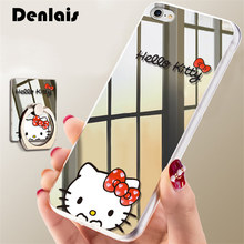Luxury Mirror Cartoon Cute Hello Kitty Case For iPhone 7 7Plus 6 6S Plus 5 5S Cases Ultra Thin Clear Ring Holder Back Cover Capa