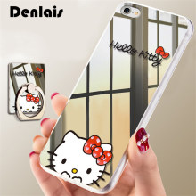 Luxury Mirror Cartoon Cute Hello Kitty Case For iPhone 7 7Plus 6 6S Plus 5 5S Cases Ultra Thin Clear Ring Holder Back Cover Capa(China)