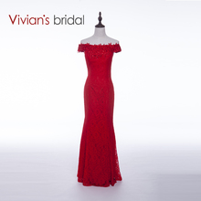 Vivian's Bridal New Arrival Sexy Evening Dress Red Mermaid Lace Formal Evening Gown Free Shopping Sales Online VB010(China)