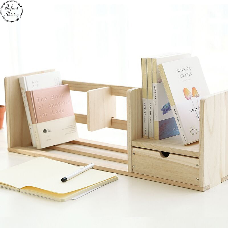Staygold Bookshelf Originality with Drawer Type Wooden Table Top Small Bookshelf Solid Wood <br>
