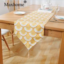 American Country Gold Table Flag Modern Simple Cotton Linen Tablerunner Placemates Home Decor Wedding Gift Multiple Size