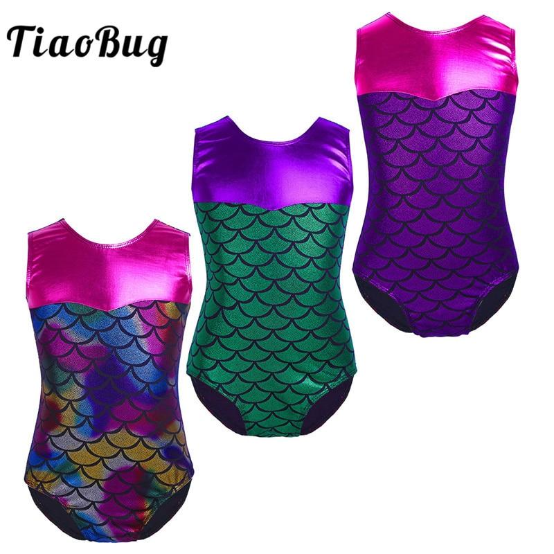 Girls Sparkle Ballet Dance Gymnastics Leotard Mermaid Scales Dancewear Costume
