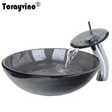 Torayvino Black Round Tempered Glass Bathroom Sink Set Transparent Tempered Glass Vessel Sink And Waterfall Faucet Set 4074-1(China)
