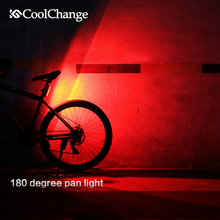 CoolChange Bicycle Light USB Rechargeable LED mountain Bike Front/Rear Warning Lamp Cycling accessories Night Safety tail light