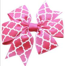 140pcs  Hot Pink and white quatrefoil hair bows Holiday Hair Clippie Free Shipping