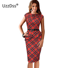 New Womens Vintage Elegant Belted Tartan Peplum Ruched Tunic Work Party Cap Sleeve Bodycon Sheath Dress 2017 Summer