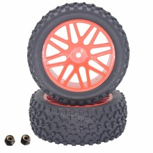2Pcs RC 1/10 Buggy Front Tires & Wheel Rims 12mm Hex Mount For Redcat Shockwave Nitro Off Road